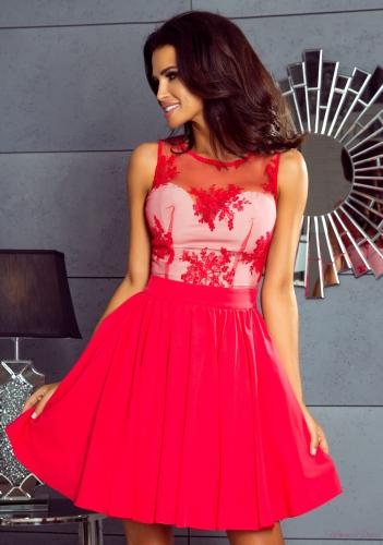 476bf065 Susan mini - sukienka z koronką, rozkloszowana, malinowa czerwień