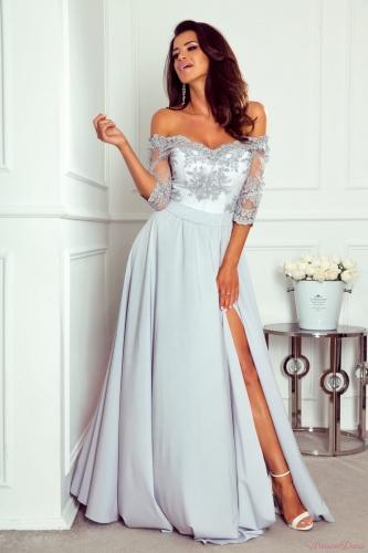 fc23197a86db0d Vanessa - sukienka koronkowa, odkryte ramiona, szary+biały gorset ...