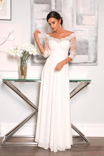 8190daaf2b346b Vanessa - sukienka koronkowa, odkryte ramiona - biała PIÙ MODA