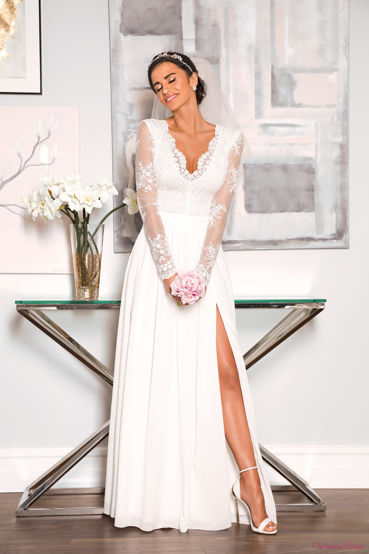 Diana sukienka koronkowa długi rękaw, biała